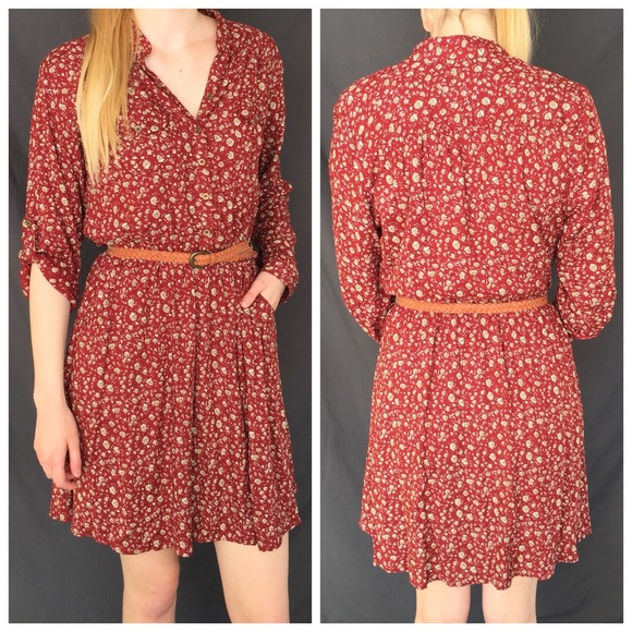 4048c9edaec NWT Angie Floral Belted Shirt Dress with pockets!